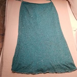 Monsoon silk beaded turquoise midi skirt sz 8